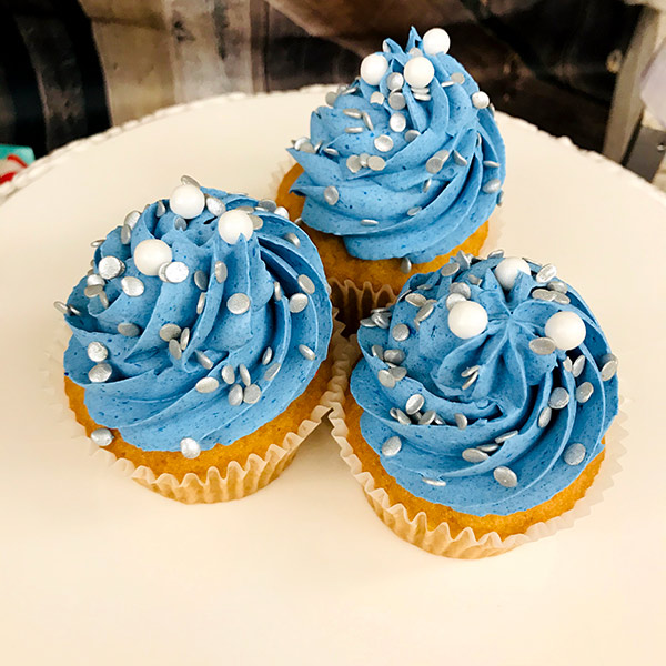 Blue and Silver Swirl Cupcake